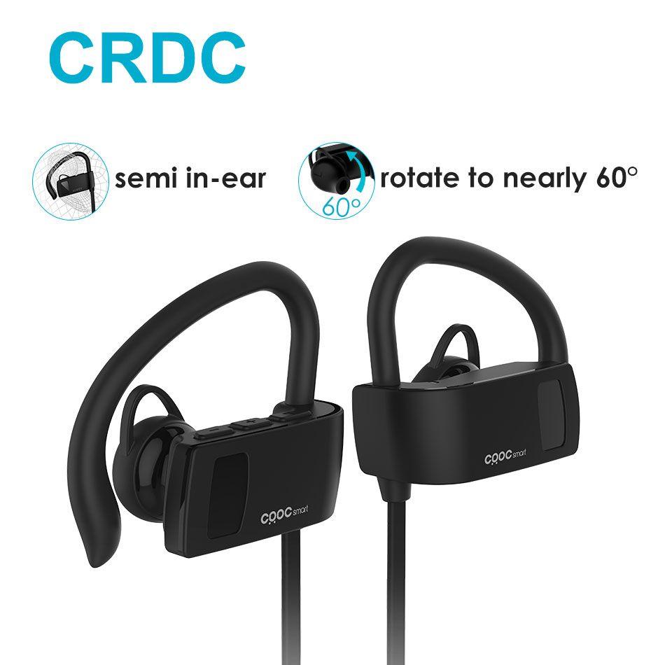Bluetooth Écouteurs, CRDC Sport Courir Oreille Crochet Sans Fil Casque Stéréo Écouteurs Basse Casque avec Micro pour iPhone Xiaomi Etc