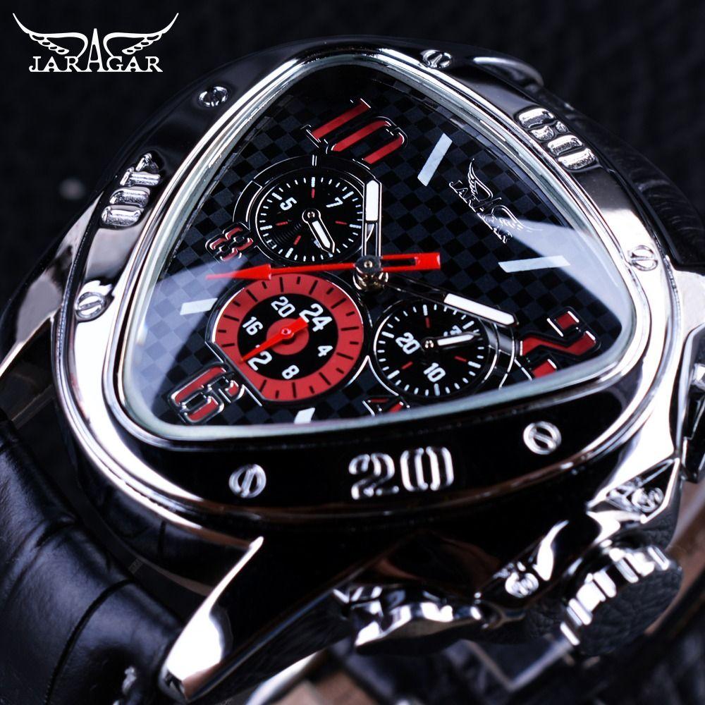 Jaragar Sport Racing Design géométrique Triangle pilote en cuir véritable hommes montre mécanique Top marque luxe automatique montre-bracelet