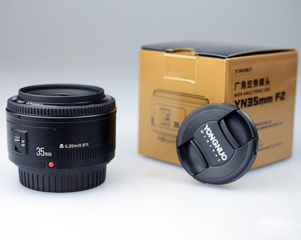 YONGNUO 35mm Lens YN35mm F2 Lens AF / MF Wide-Angle Large Aperture Fixed/Prime Auto Focus Lens For Canon EF Mount EOS Camera