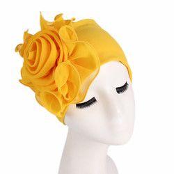 Femmes Extensible Bonnets avec Grande Fleur Cheveux Perte Cap Africain Turban Boho Tête Wrap Hijab De Mariage Parti Cap Turbantes mujer