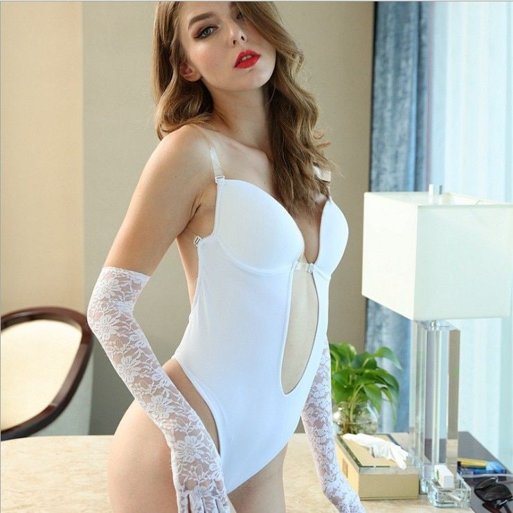 Body femme V profond bretelle dos nu string plongeant Push Up soutien-gorge rembourré Body Shaper costume Convertible sans couture bas dos