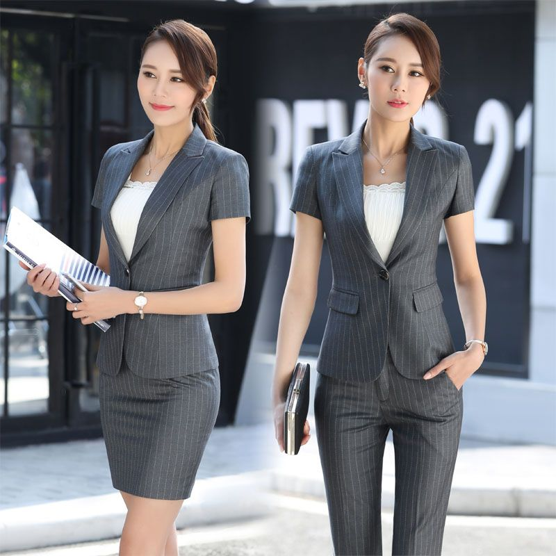 Elegant Grey Striped Formal Professional Business Women Suits With Jackets And Pants Female Trousers Sets Summer Blazers Outfits