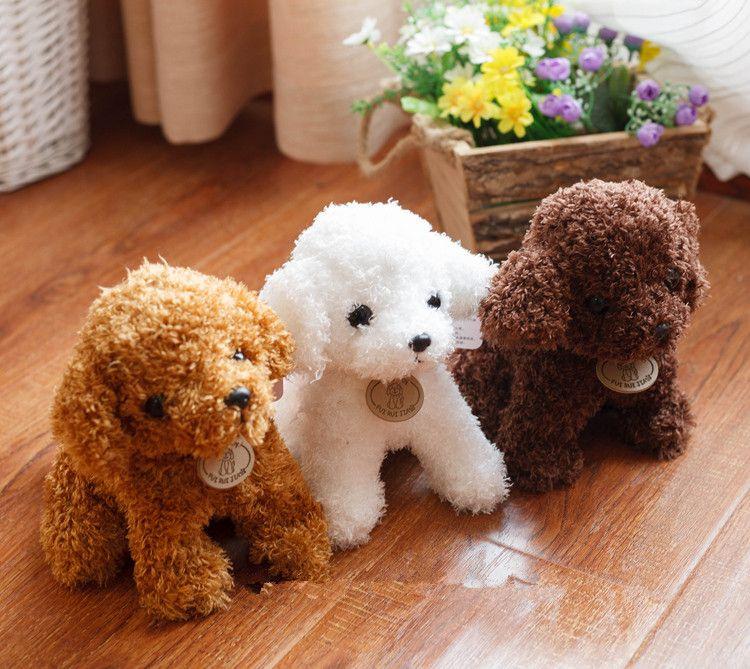 Livraison gratuite simulation Teddy chien dame, caniche jouets en peluche animaux en peluche poupée pour cadeau De Noël