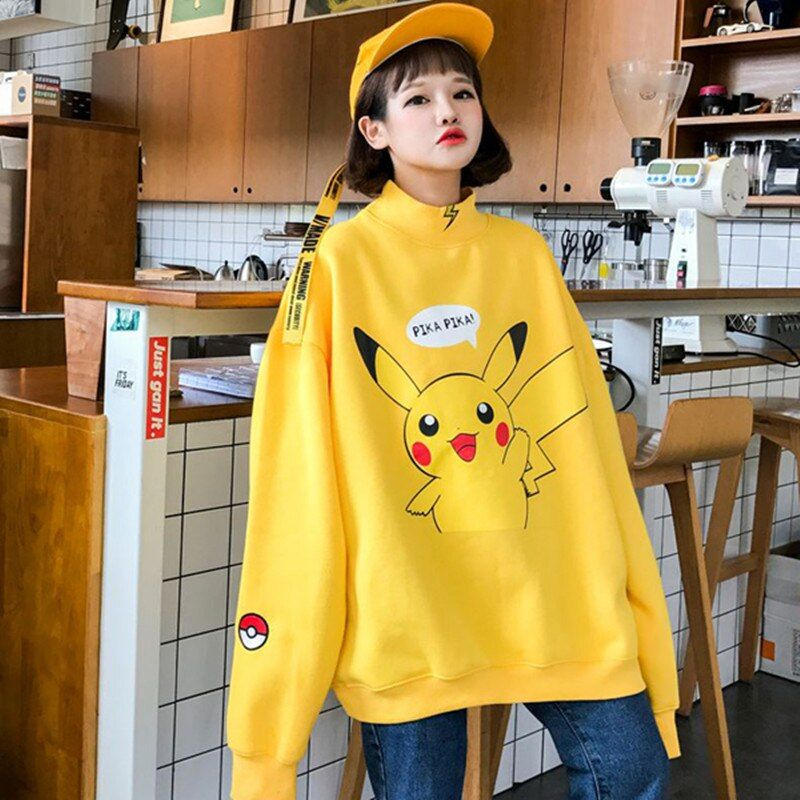 2017 new Women Japanese Pikachu Print Pullover Jumper Cool Streetwear Ulzzang BF Harajuku Casual Sweatshirt Yellow Oversize Tops