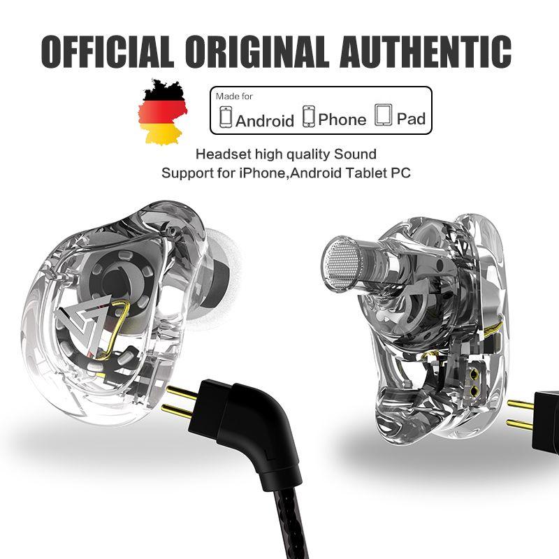 QKZ VK1 Earphones with 4DD Dynamic Speaker HiFi Earphones with Mic for <font><b>SmartPhone</b></font> Stereo In Ear Earbuds HiFi Headset Bass Stereo
