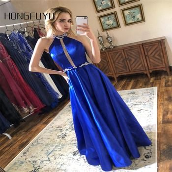 New Fashion Prom Dresses Satin A-Line Halter Backless Sparkly Prom Dress 2019 Elegant Vestido de Festa Long Evening Party Gowns
