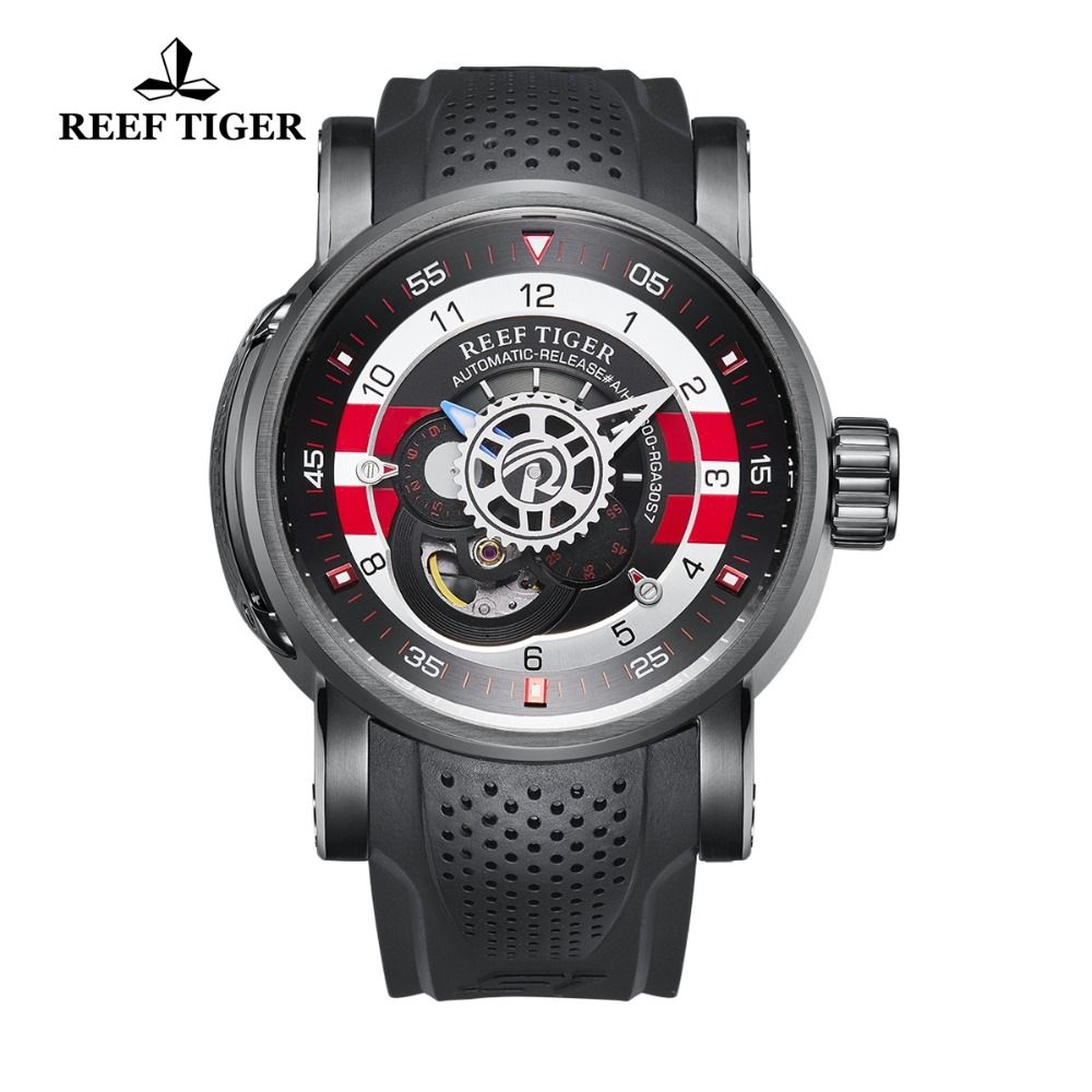 Reef Tiger/RT Luxury Designer Waterproof Sport Watches Rubber Strap Watch for Men Automatic Watches relogio masculino RGA30S7