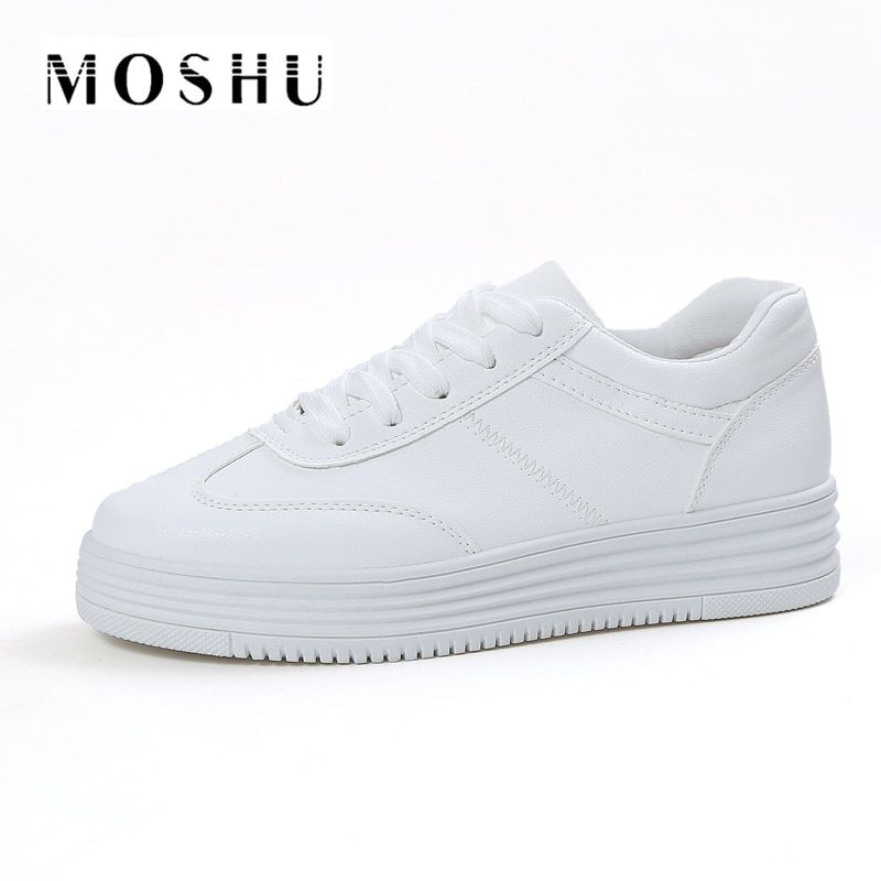Diseñador de Verano Zapatillas de Deporte de Las Mujeres Zapatos Causales Cesta Blanca Mujeres Pisos Plataforma Creepers Zapatos de Cuero Zapatillas Deportivas Mujer