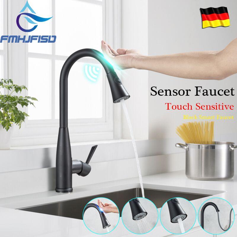 Schwarz Automatische Sensor Küche Armaturen Touch Induktive Küche Wasserhahn Empfindliche Intelligente Wasser Saving Wasser Mixe Tap