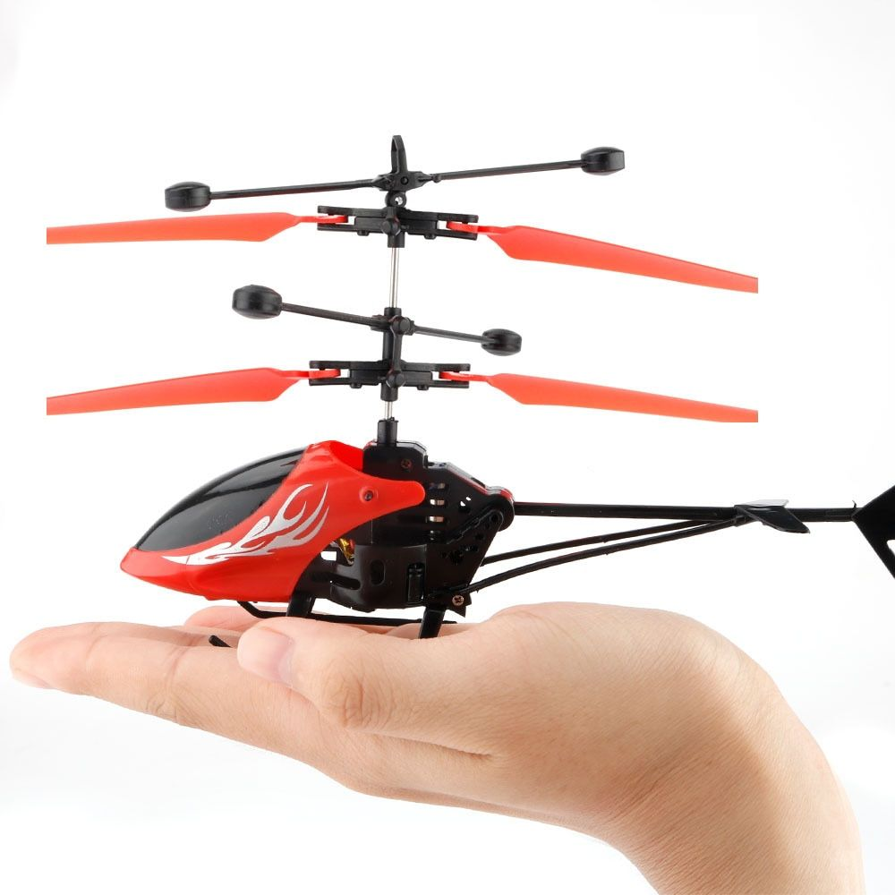 Mini Portable Roll Toy 2 Channel Helicopter Rechargeable RC Plane Electric Red 2CH Induction Infrared Plane Drone Toys