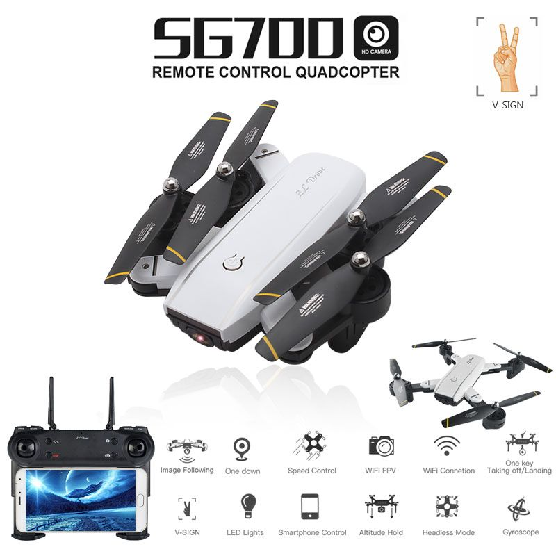 SG700 0.3MP/2MP Rc Quadcopter with Camera Wifi FPV Foldable Selfie Drone Altitude Hold Headless Gesture Control Dron vs E58