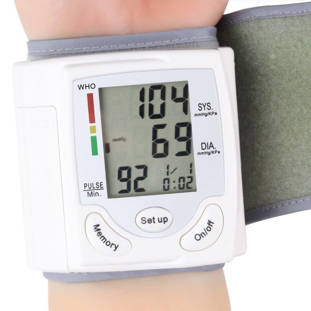 Automatic Digital Wrist Cuff Blood Pressure Monitor Arm Meter Pulse Sphygmomanometer Heart Beat Meter LCD Display Convenient