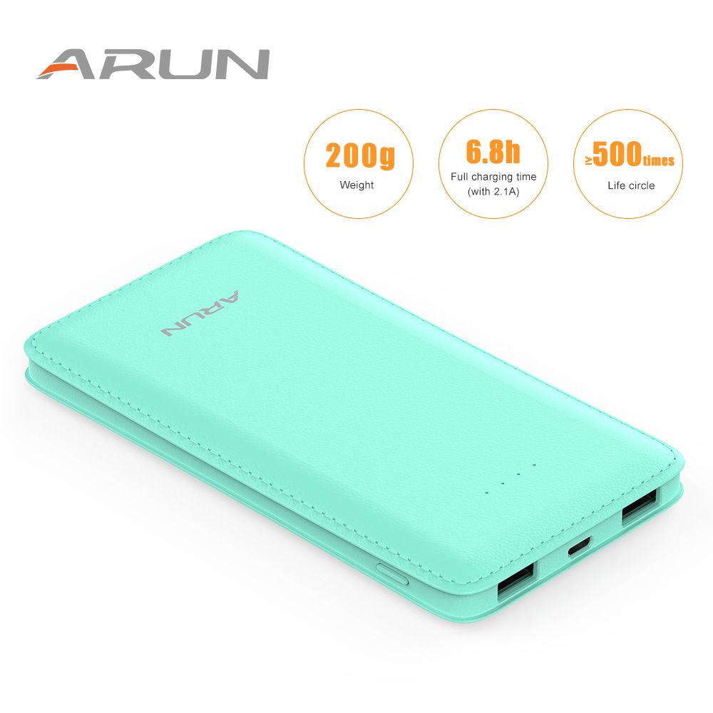 ARUN 10000mah J18 Green GREColorful Mobile Fast Charger Dual USB Power Bank Torch and LED Indicator for Phone Tablet Xiaomi
