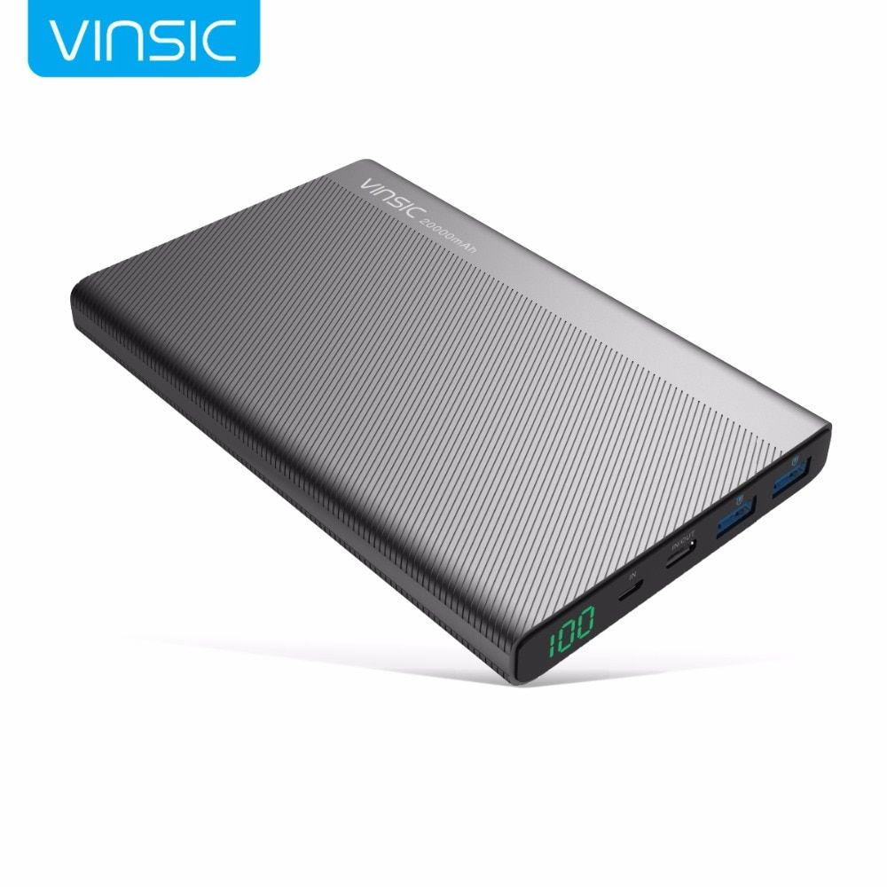 Vinsic 5V/3A 20000mAh Type-C Fast Charge Power Bank <font><b>Dual</b></font> Smart USB & Type-C Outputs External Battery Charger For HUAWEI iPhone