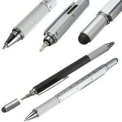 6PCS/LOT GENKKY Ballpoint Pen Modern Design Overvalue Handy Tech Tool Ballpoint Pen Screwdriver Ruler Spirit Level Multifunction