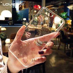 Lovebay Glitter estrellas teléfono caso para el iPhone 7 6 6 S 8 más girly transparente silicona suave TPU caso de la cubierta para el iPhone X