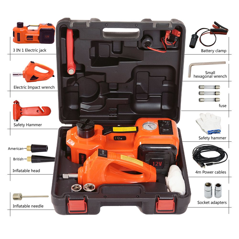 free shipping 11000lb( 5 tons) electric powered hydraulic car floor jack set with inflator pump