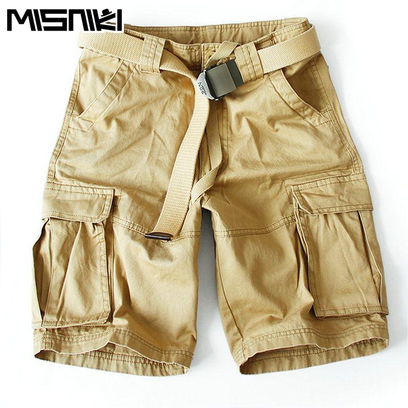 Misniki Лето 2017 г. хлопок Для мужчин Шорты для женщин masculino брюки-карго Военная Униформа Для Мужчин's Шорты для женщин (без ремня)