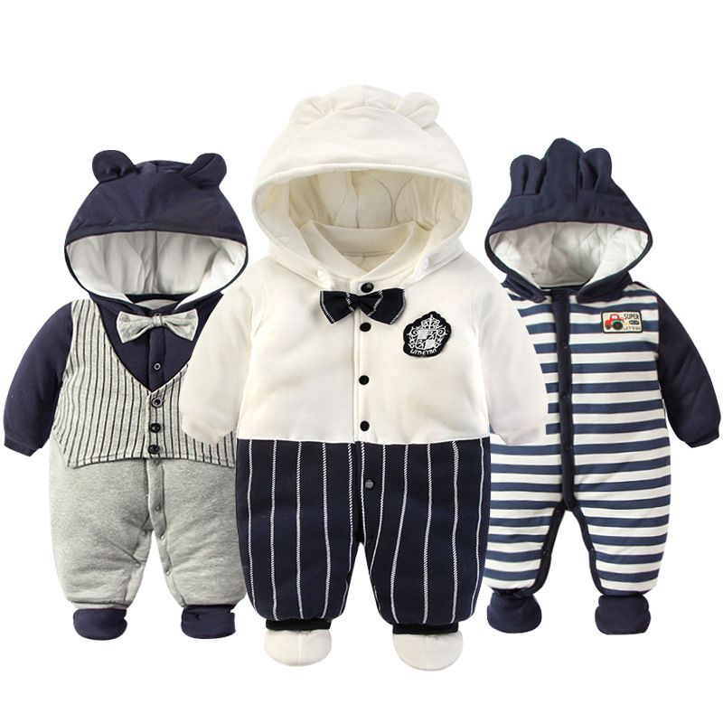 2018 Newborn Rompers Winter cotton Thick Warm Baby boy girl Clothes baby Long Sleeve Hooded Jumpsuit Kids Outwear for 0-24M
