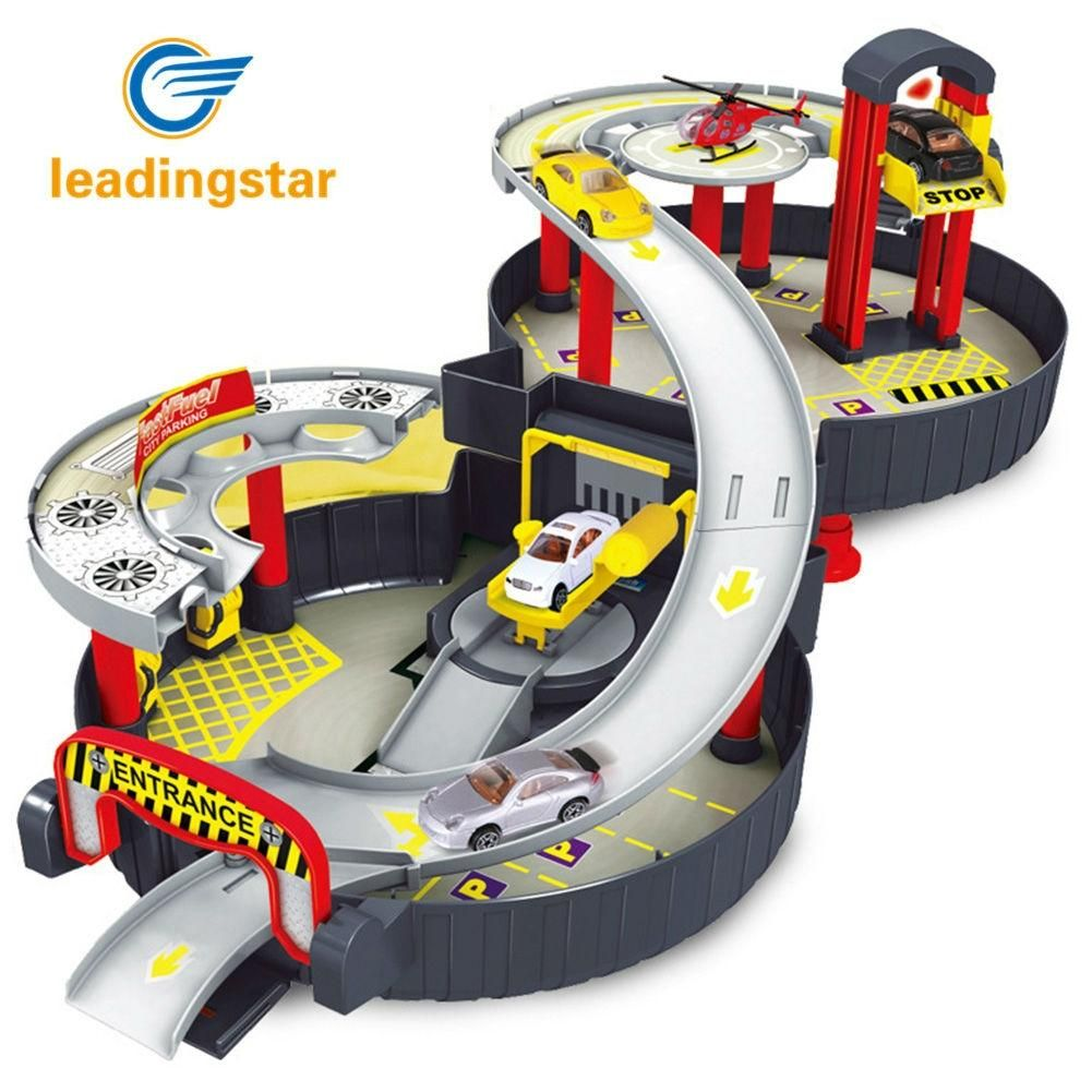 LeadingStar Spiral Roller Rail Alloy Vehicles Kids City Parking Garage Toy City Car Truck Vehicle Auto 2 Storey Play Set Tire Ca