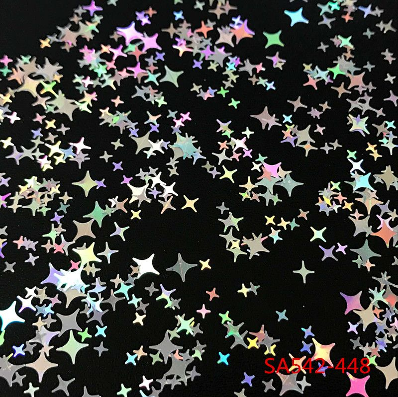 12 Kinds Colors Four Angle Stars Shape Nail Glitter Sequins for Nail Art Decoration Makeup Body Art Decoration  DIY Decoration