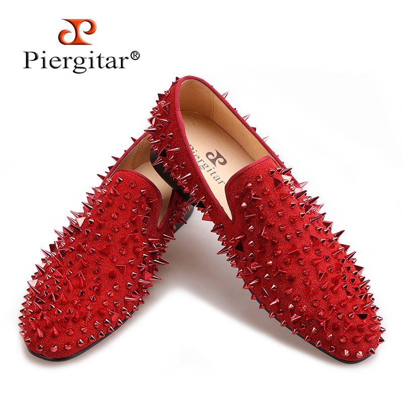 Piergitar/2017 три цвета ручной работы Для мужчин Заклёпки Обувь модные Выходные туфли на выпускной бал мужские лоферы с красной подошвой Большие ...