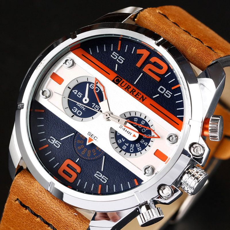 CURREN Men Watch Luxury Leather Quartz Wristwatch Male Waterproof Army Military Watch Men's Fashion Sport Analog Male Clock