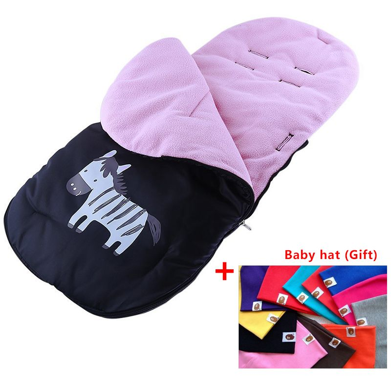 Baby Sleeping Bags Pram Baby Stroller Foot warm Cover Strollers Accessories Pushing cart foot muff for children+baby hat (Gif)