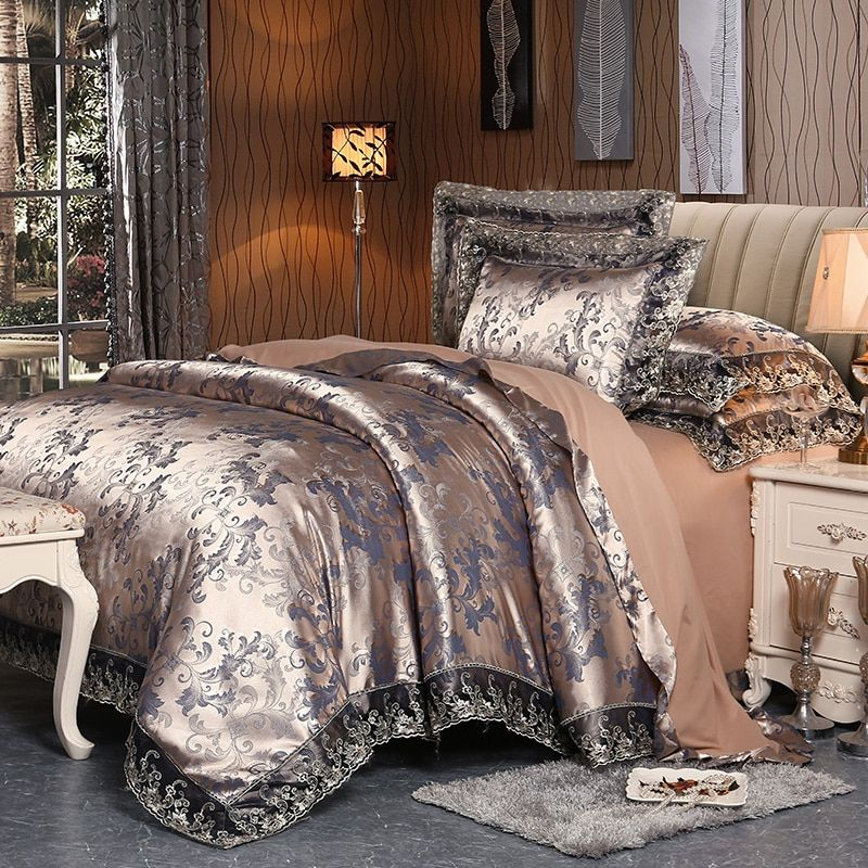 MECEROCK 2017 New Euro Style Tencel Jacquard Bedding Set Lace Comforter Cover Blanket Cover Flat Sheet Set Pillowcases Queen