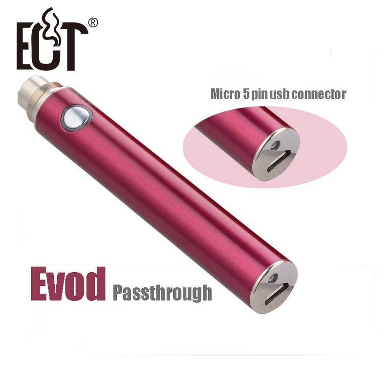 Neupreis Elektronische Zigarette 5pin micro USB Boden & Top Ladung Evod Passthrough Batterie