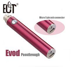 Precio de fábrica cigarrillo electrónico 5pin micro USB inferior y carga superior evod passthrough batería