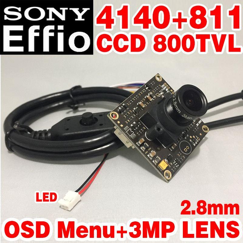 Wide Angle New Style 1/3Sony CCD Effio-e 800tvl Simple hd camera chip module 2.8mm 3.0mp lens big Wide Angle osd menu