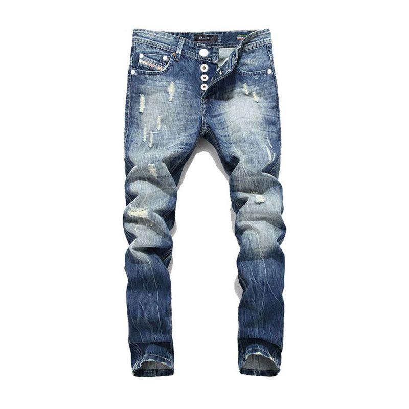 2017 New <font><b>Arrival</b></font> Fashion Balplein Brand Men Jeans Washed Printed Jeans For Men Casual Pants Italian Designer Jeans Men!B982