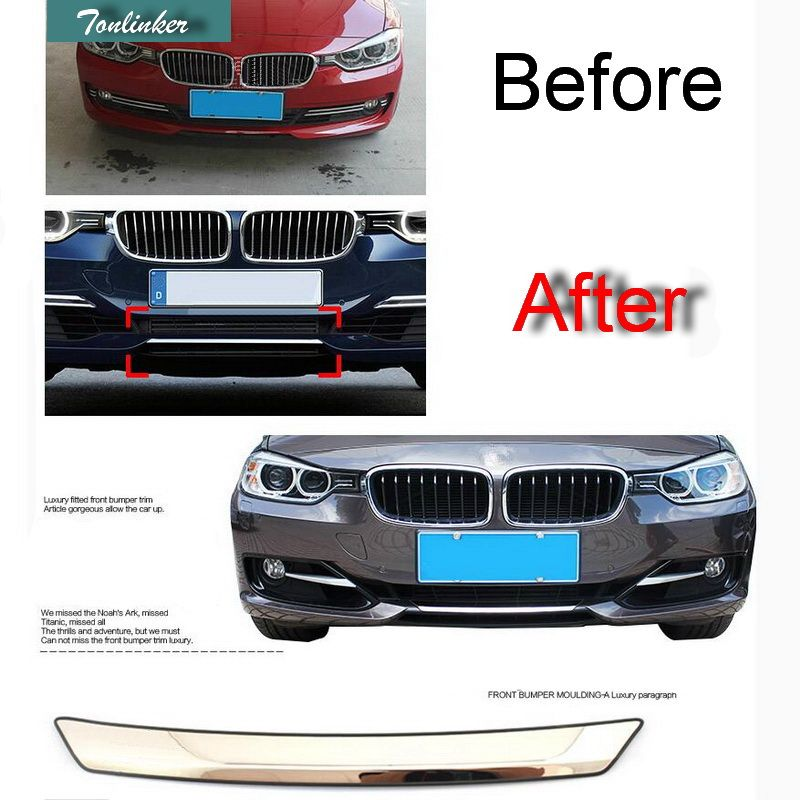 Tonlinker 1 PCS Car Stainless Steel Front Bumper Light Cover Case stickers for Bmw F30 F35 3 Series 316i/320li/328li Accessories