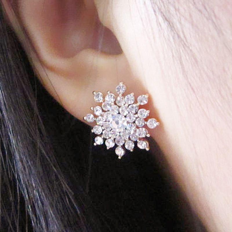 ES660 Hot Fashion Brincos 2017 Girls Earing Bijoux Sliver Snowflake Stud Earrings For Women Wedding Jewelry Earings Wholesale