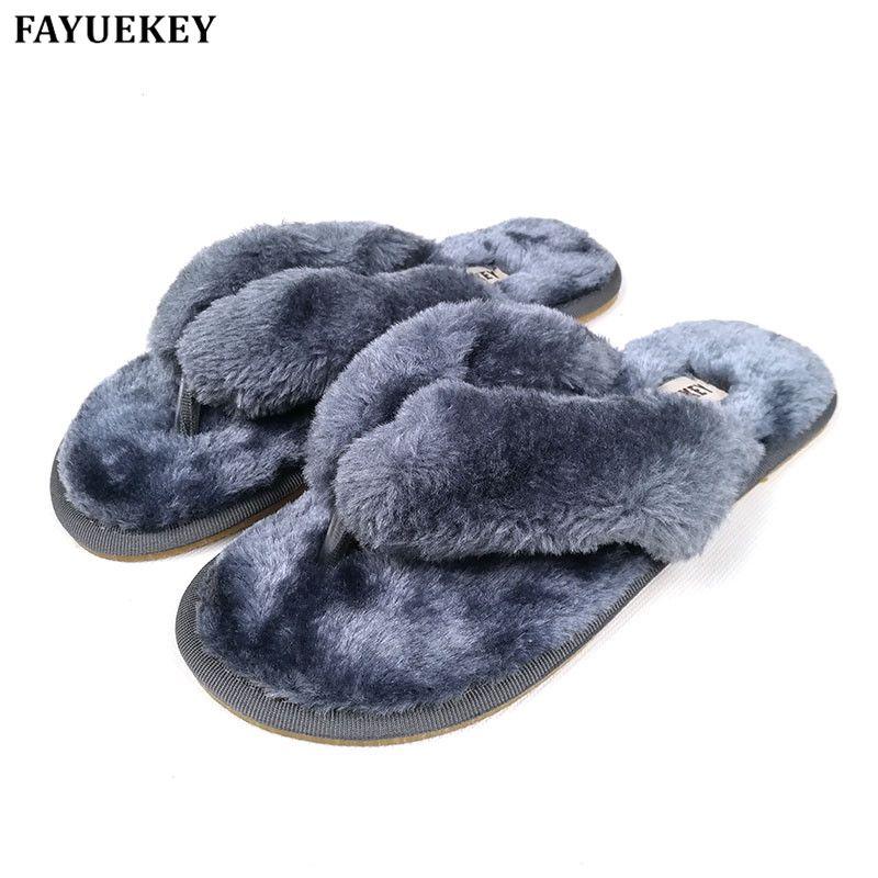 FAYUEKEY 2019 nouvelle mode printemps été hiver maison coton pantoufles en peluche femmes plancher tongs Zapatos De Mujer chaussures plates