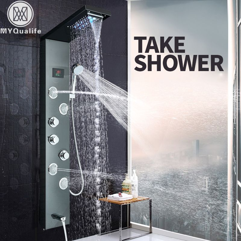 LED Light Shower Panel Waterfall Rain Shower Faucet Set SPA Massage Jet Bath Shower Column Shower Mixer Tap Tower