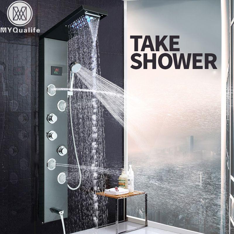 LED Light Shower Panel Waterfall Rain Shower Faucet Set SPA Massage Jet Bath Shower Column Shower Mixer Tap Tower