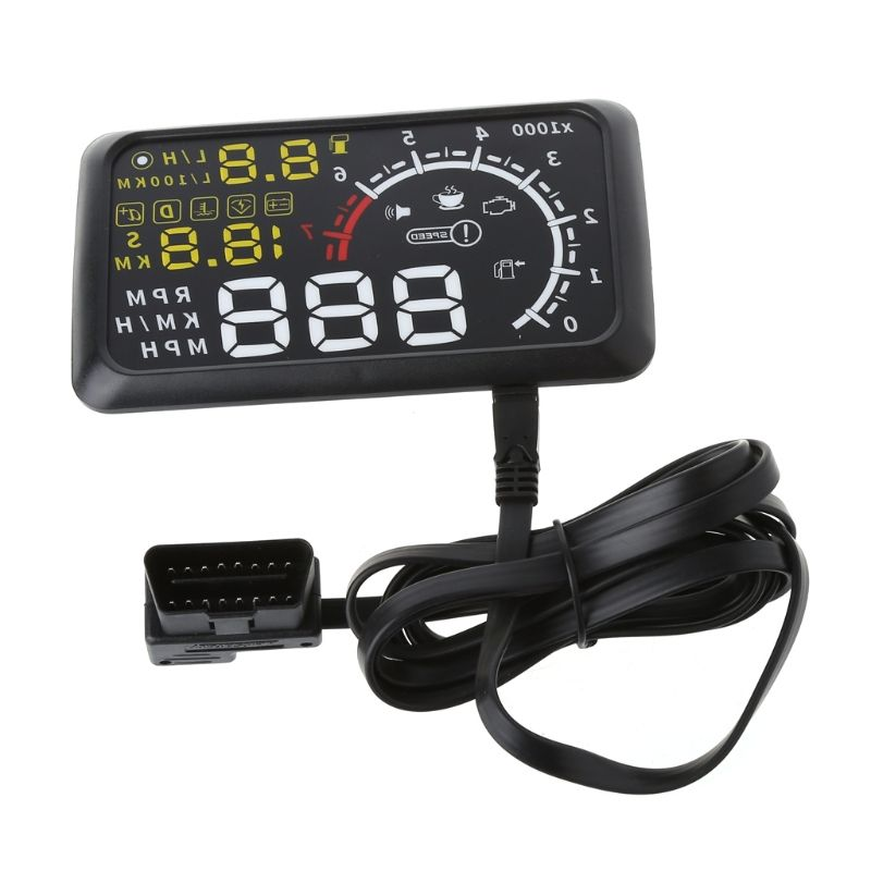 4C Auto HUD 5.5 Screen Auto OBDII Car hud OBD2 Port Head-Up Display KM/h MPH Overspeed Warning Windshield Projector Alarm System