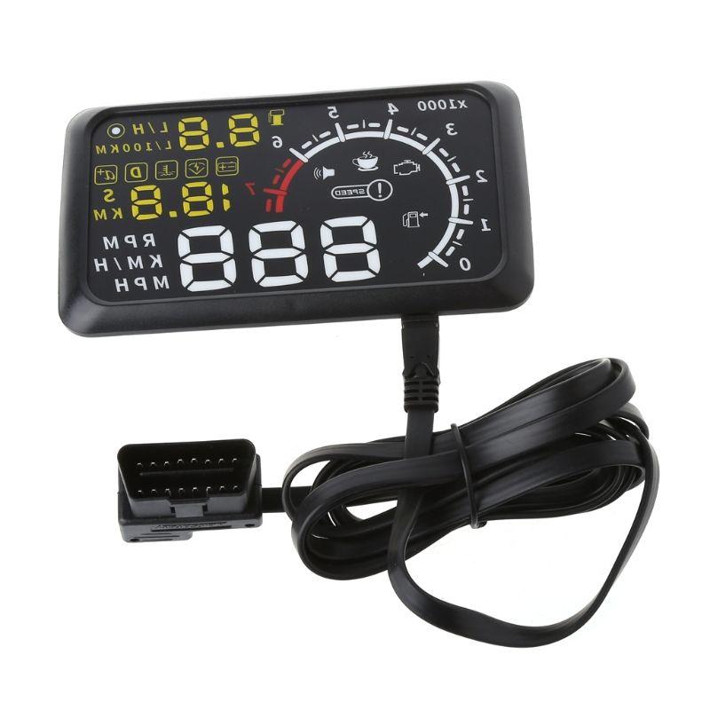 4C Auto HUD 5.5 Screen Auto OBDII Car hud OBD2 Port Head-Up Display KM/h MPH Overspeed Warning Windshield Projector Alarm System