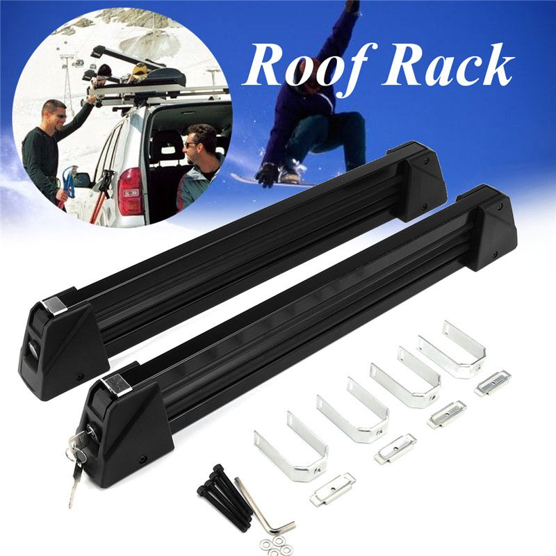 1 Pair Aluminum Alloy Car Auto Roof Rack Ski Snow Board Carrier Holders Roof Rack Mounted Lockable Luggage Stand Max Load 70Kg