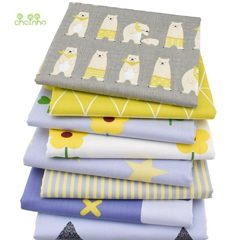 8 pcs/lot, sergé de Coton Tissu Patchwork de Tissu de Bande Dessinée Tissu De BRICOLAGE À La Main Quilting Couture Bébé & Enfants Feuilles Robe Matériel