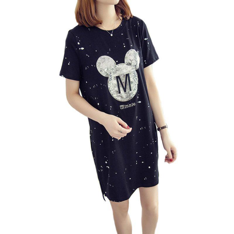 L-XL Oversized Shirtdress 2017 Summer New Short Sleeve Mickey Sequined Dot Print Loose Pullovers Streetwear Casual Women Dress