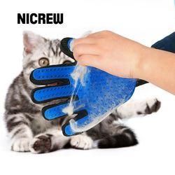 Nicrew Grooming guante para gatos Pet Dog Deshedding pelo peine cepillo guante para mascotas perro limpieza masaje guante para animales