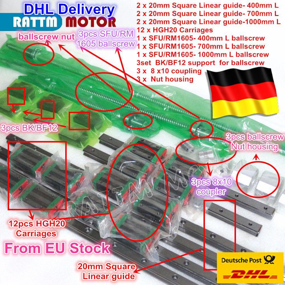 3 sets Platz Linear führer sätze L-400/700/1000mm & 3 stücke Kugelumlaufspindel 1605-400/ 700/1000mm mit Mutter & 3 satz BK/B12 & Kupplung für CNC