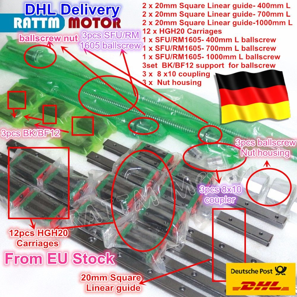 6PS Square Linear guide sets L-400/700/1000mm & 3pc Ballscrew 1605-400/700/1000mm with Nut & 3set BK/B12 & Couuling for CNC