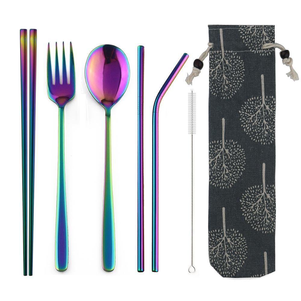 JANKNG Portable voyage Dinneware Set 304 acier inoxydable fourchette Scoop baguettes paille Silverwar ensemble arc-en-ciel couverts avec pochette