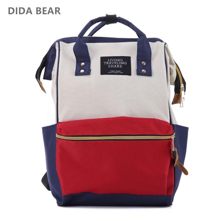 DIDA BEAR Fashion Women Backpacks Female Denim School Bag For Teenagers Girls Kanken Rucksack Large Space Backpack Sac A Dos