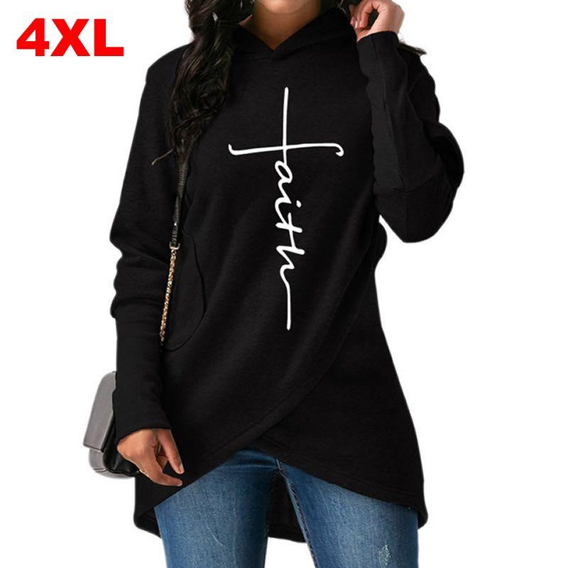 High Quality Large Size 2018 New Fashion Faith Print Kawaii Sweatshirt Femmes Hoodies Women Youth Female Creative Tops S-4XL