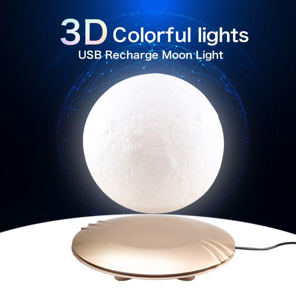 Romantic 3D Magnetic Floating Moon Lamp Rotatable Levitating Night Lamp Lights Table Night Moonlight Creative Home Decor Light